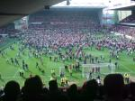Some of the crowd are on the pitch...