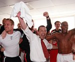 Smoulds and the team celebrate in the changing room