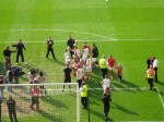 They reach the Bridgford End penalty area